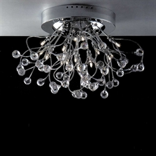 "Picture of 24"" Sfera Modern Crystal Flush Mount Round Chandelier Polished Chrome  / Brushed Nickel 15 Lights"