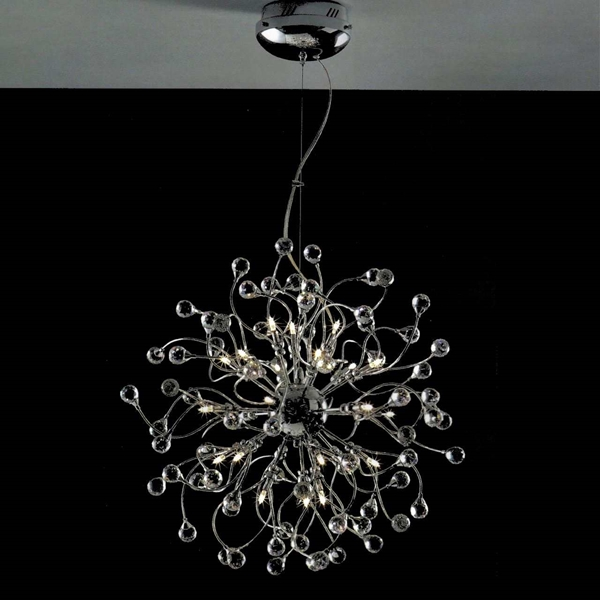 "Picture of 24"" Sfera Modern Crystal Round Chandelier Polished Chrome 24 Lights"