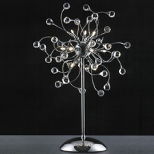 "Picture of 27"" Sfera Modern Crystal Table Lamp Polished Chrome 12 Lights"