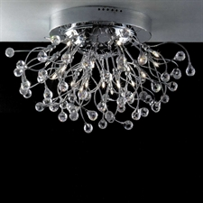 "Picture of 28"" Sfera Modern Crystal Flush Mount Round Chandelier Polished Chrome 20 Lights"
