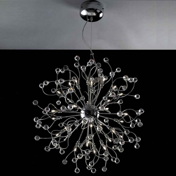 """Picture of 30"""" Sfera Modern Crystal Round Chandelier Polished Chrome 32 Lights"""