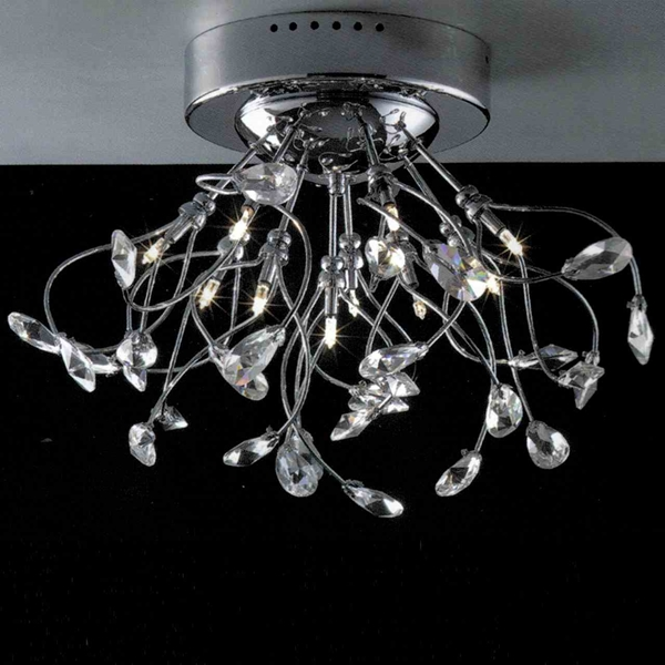 "Picture of 19"" Tempesta Modern Crystal Flush Mount Round Chandelier Polished Chrome  / Brushed Nickel 10 Lights"