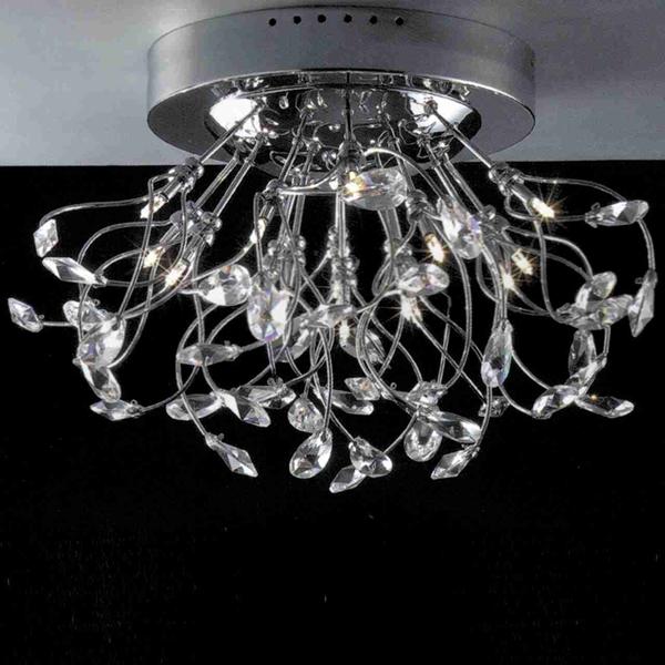 "Picture of 24"" Tempesta Modern Crystal Flush Mount Round Chandelier Polished Chrome  / Brushed Nickel 15 Lights"