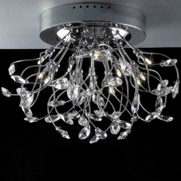 "Picture of 28"" Tempesta Modern Crystal Flush Mount Round Chandelier Polished Chrome 20 Lights"
