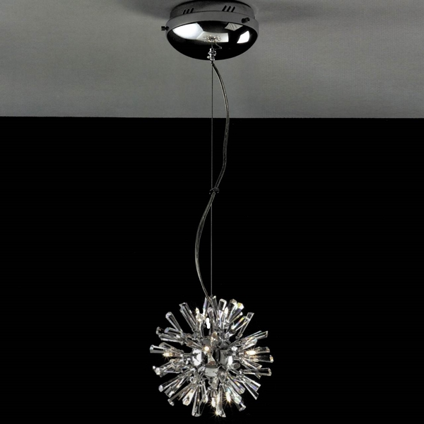 """Picture of 11"""" Radiante Modern Crystal Round Pendant Polished Chrome 12 Lights"""