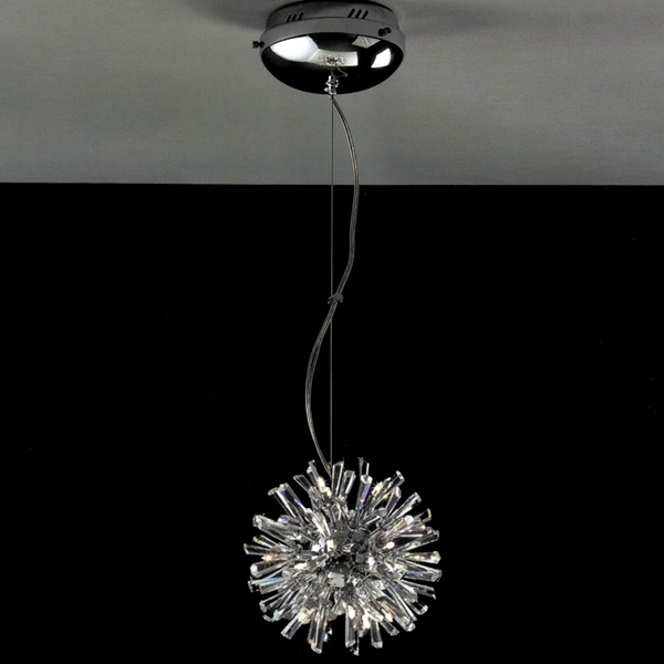 """Picture of 12"""" Radiante Modern Crystal Round Pendant Polished Chrome 15 Lights"""