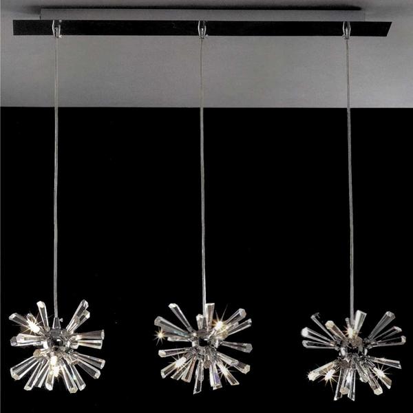 "Picture of 28"" Radiante Modern Crystal Triple Pendants Polished Chrome 12 Lights"