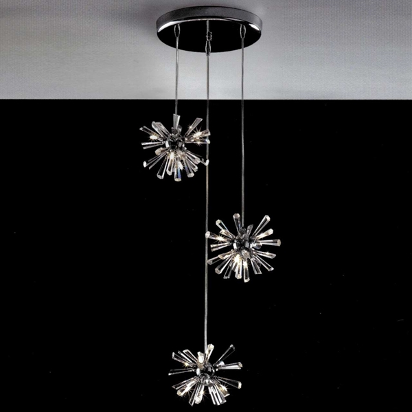 """Picture of 11"""" Radiante Modern Crystal Round Triple Pendants Polished Chrome 12 Lights"""