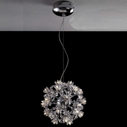 "Picture of 14"" Petali Modern Crystal Round Pendant Polished Chrome 24 Lights"