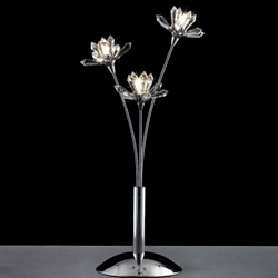 "Picture of 19"" Petali Modern Crystal Table Lamp Polished Chrome 3 Lights"