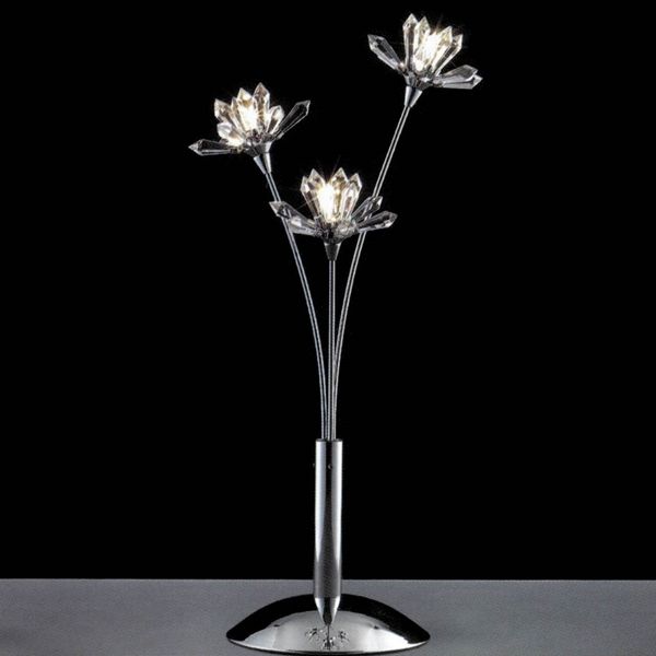 """Picture of 19"""" Petali Modern Crystal Table Lamp Polished Chrome 3 Lights"""