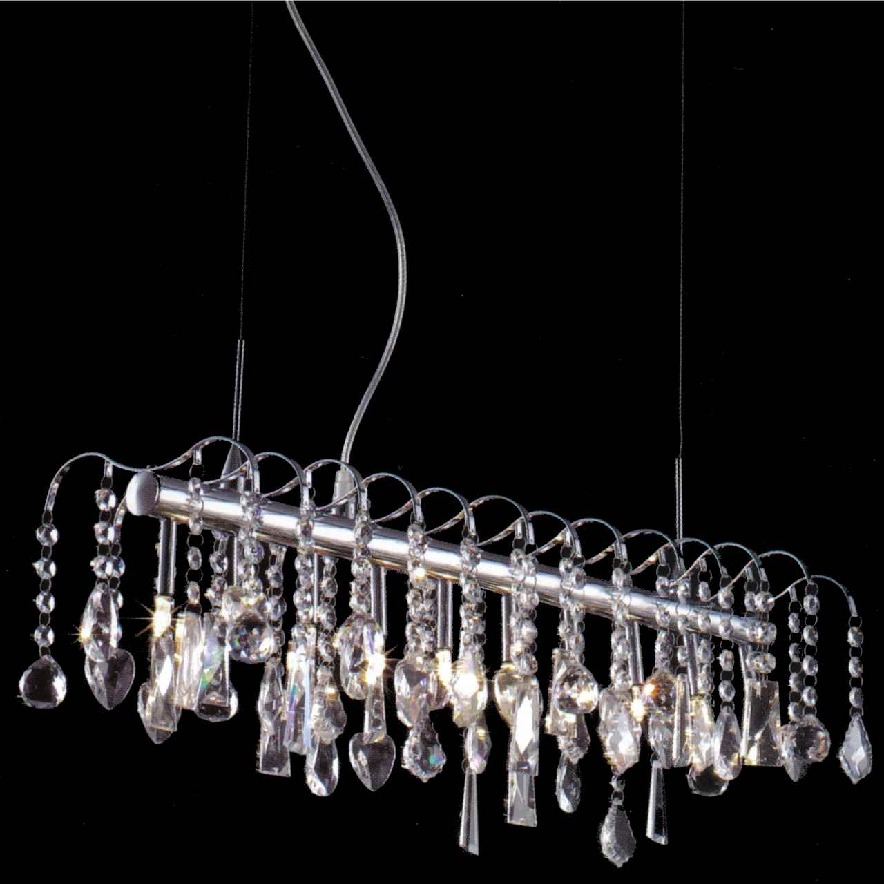 "Crystal Chandelier Rectangle: Brizzo Lighting Stores. 32"" Diretto Modern Crystal"