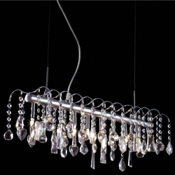 "Picture of 32"" Diretto Modern Crystal Rectangular Chandelier Polished Chrome 15 Lights"