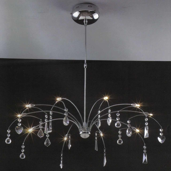 "Picture of 31"" Aria Modern Crystal Round Chandelier Polished Chrome 12 Lights"
