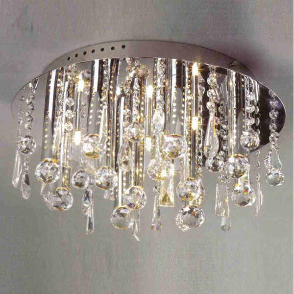 """Picture of 14"""" Miraggio Modern Crystal Flush Mount Round Chandelier Polished Chrome 12 Lights"""