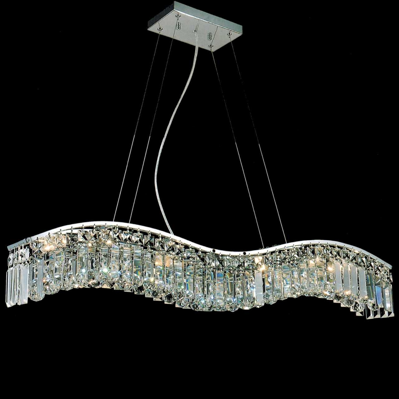 "Crystal Chandelier Rectangle: Brizzo Lighting Stores. 36"" Gesto Modern Rectangular Wave"