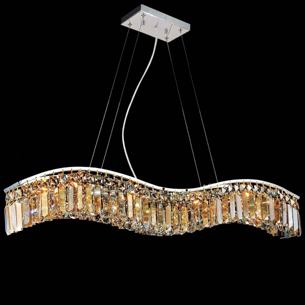 """Picture of 36"""" Gesto Modern Rectangular Wave Chandelier Polished Chrome Clear / Smoky / Champagne Crystal 7 Lights"""