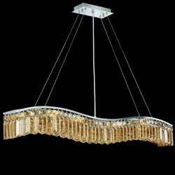 "Picture of 44"" Gesto Modern Rectangular Wave Chandelier Polished Chrome Clear / Smoky / Champagne Crystal 7 Lights"