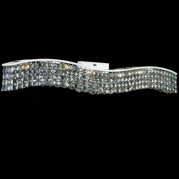 "Picture of 44"" Gesto Modern Rectangular Wave Wall Sconce Vanity Light Polished Chrome Clear / Smoky / Champagne Crystal 12 Lights"