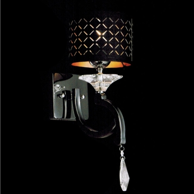 "Picture of 8"" Bello Nero Contemporary Crystal Wall Sconce Black Chrome with Shade 1 Light"