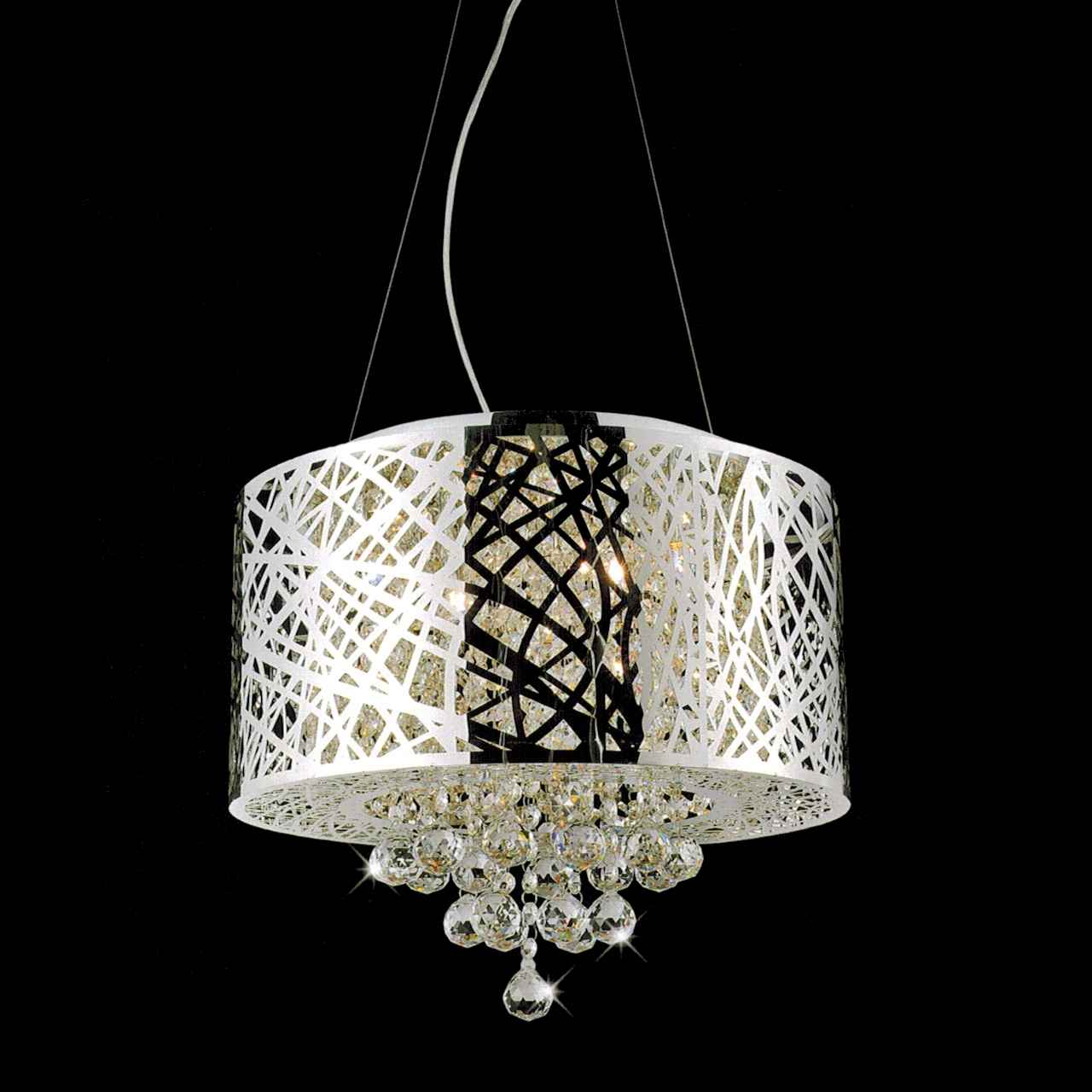drum shade crystal round pendant chandelier stainless steel 5 lights. Black Bedroom Furniture Sets. Home Design Ideas