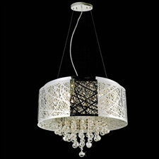 "Picture of 22"" Web Modern Laser Cut Drum Shade Crystal Round Pendant Chandelier Stainless Steel 9 Lights"