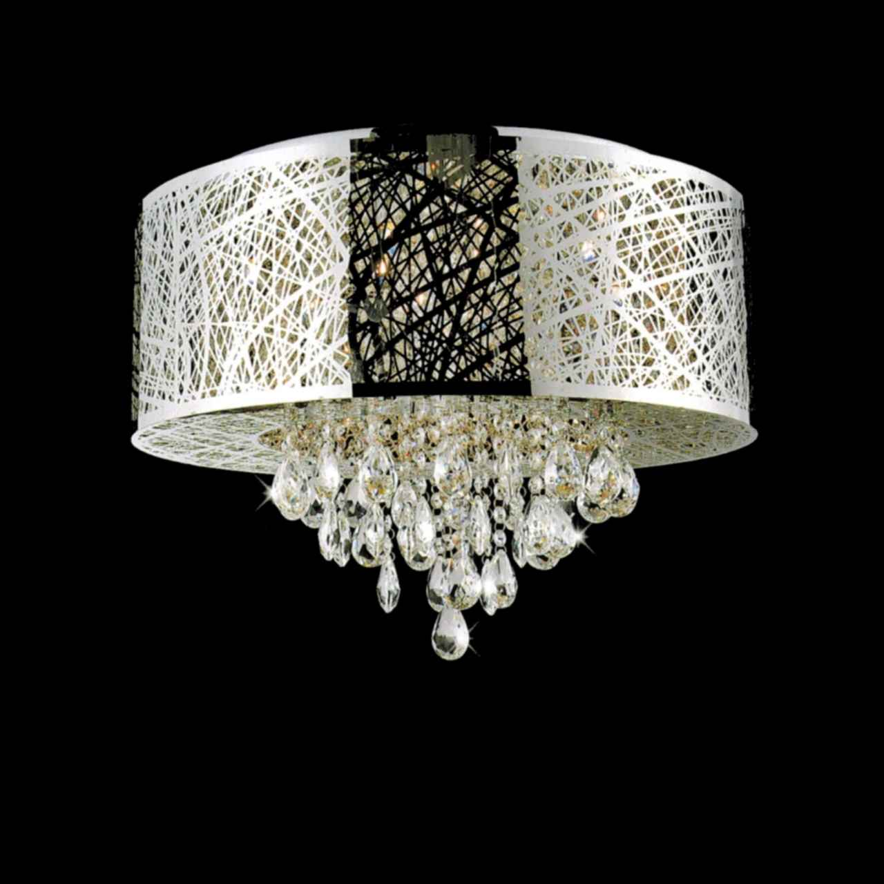 drum shade crystal round flush mount chandelier stainless steel 9