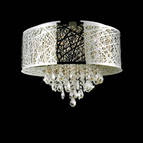 """Picture of 22"""" Web Modern Laser Cut Drum Shade Crystal Round Flush Mount Chandelier Stainless Steel 9 Lights"""