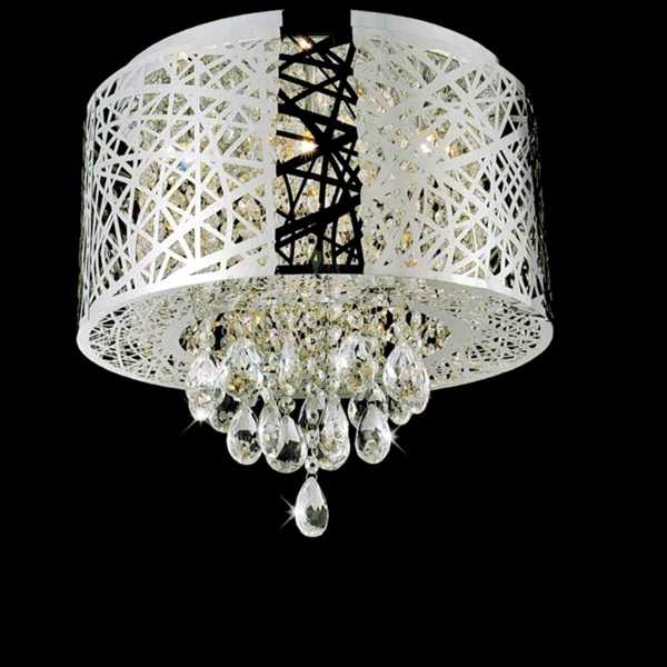 """Picture of 16"""" Web Modern Laser Cut Drum Shade Crystal Round Flush Mount Chandelier Stainless Steel 6 Lights"""