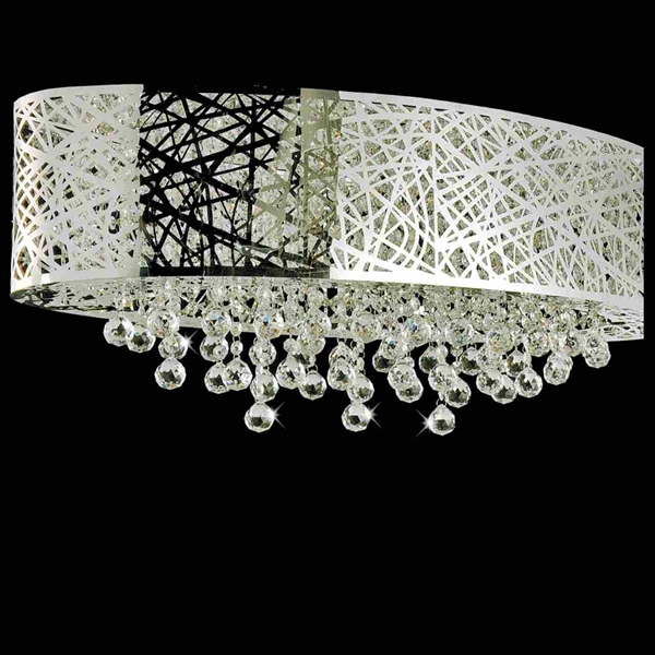 """Picture of 32"""" Web Modern Laser Cut Shade Crystal Oval Flush Mount Chandelier Stainless Steel 8 Lights"""
