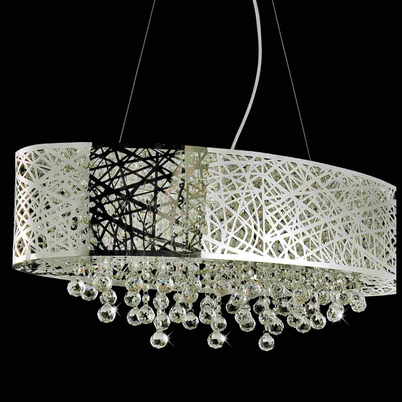 """Crystal Chandelier With Drum Shade: Brizzo Lighting Stores. 32"""" Web Modern Laser Cut Drum"""