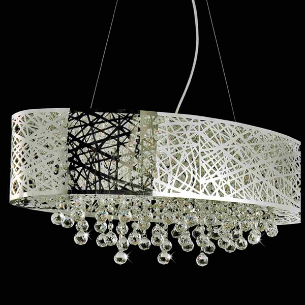 "Picture of 32"" Web Modern Laser Cut Drum Shade Crystal Oval Pendant Chandelier Stainless Steel 8 Lights"