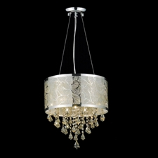 "Picture of 16"" Nature Modern Laser Cut Drum Shade Crystal Round Pendant Chandelier LSD Stainless Steel 6 Lights"