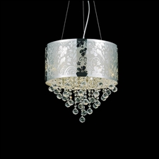 "Picture of 16"" Nature Modern Laser Cut Drum Shade Crystal Round Pendant Chandelier LSB Stainless Steel 6 Lights"