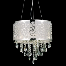 "Picture of 16"" Nature Modern Laser Cut Drum Shade Crystal Round Pendant Chandelier LSM Stainless Steel 6 Lights"