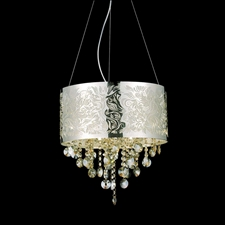 "Picture of 16"" Nature Modern Laser Cut Drum Shade Crystal Round Pendant Chandelier LSS Stainless Steel 6 Lights"