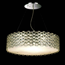 "Picture of 17"" Piazze Modern Crystal Round Pendant Chandelier Stainless Steel 12 Lights"