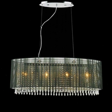"""Picture of 35"""" Ovale Modern String Drum Shade Crystal Oval Chandelier Polished Chrome with Black / White / Silver Shade 6 Lights"""