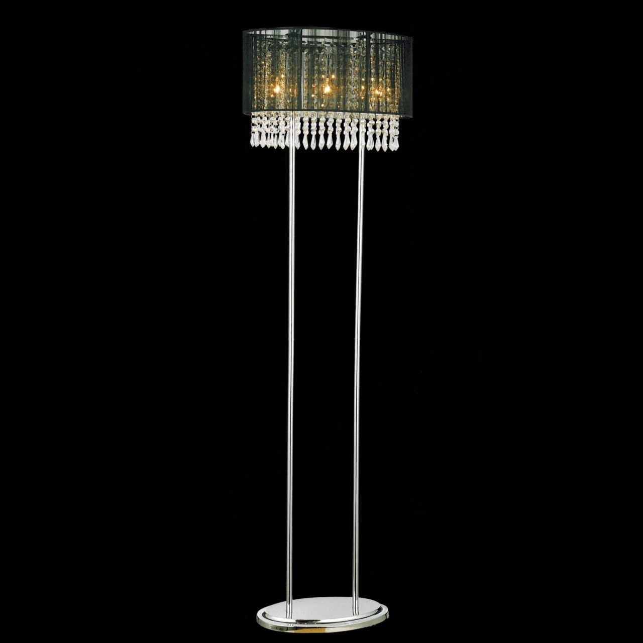 Modern crystal floor lamp - Picture Of 59 Ovale Contemporary String Drum Shade Crystal Floor Lamp Polished Chrome Black