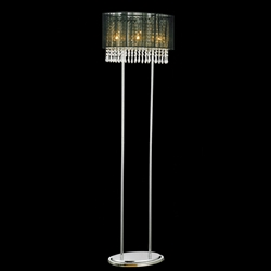 "Picture of 59"" Ovale Contemporary String Drum Shade Crystal Floor Lamp Polished Chrome Black /White / Silver Shade 3 Lights"