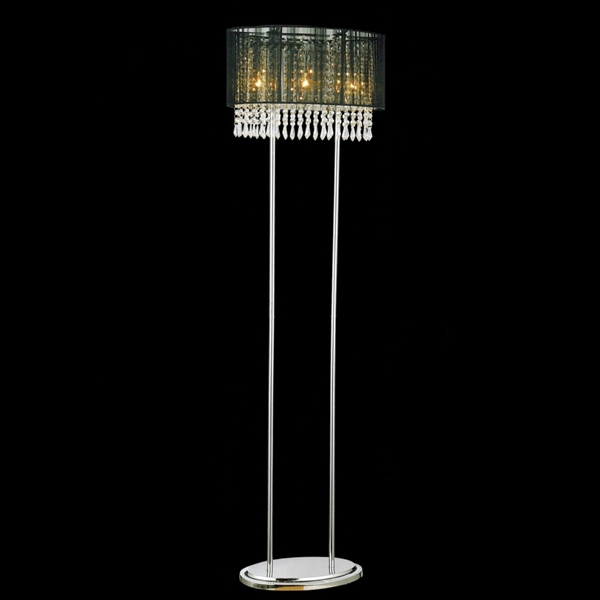 """Picture of 59"""" Ovale Contemporary String Drum Shade Crystal Floor Lamp Polished Chrome Black /White / Silver Shade 3 Lights"""
