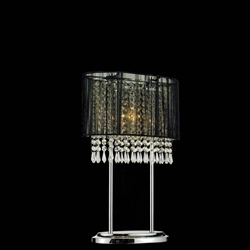 "Picture of 20"" Ovale Contemporary String Drum Shade Crystal Table Lamp Polished Chrome Black /White / Silver Shade 2 Lights"