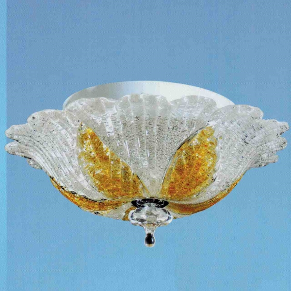 """Picture of 12"""" Leaf Flush Mount Small Round Ceiling Melted Glass Chandelier 2 Lights"""