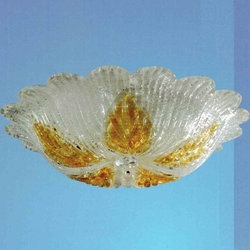 "Picture of 16"" Leaf Flush Mount Medium Round Ceiling Melted Glass Chandelier 3 Lights"