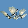 """Picture of 30"""" Leaf Flush Mount Small Round Ceiling Melted Glass Chandelier Gold / Chrome 6+1 Lights"""