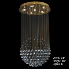 Picture of Sphere Modern Crystal Chandelier Large Mirror Stainless Steel Base 6 Lights