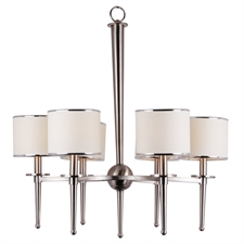 """Picture of 25"""" Covington Contemporary Fabric Shades Chandelier Brushed Nickel 6 Lights"""