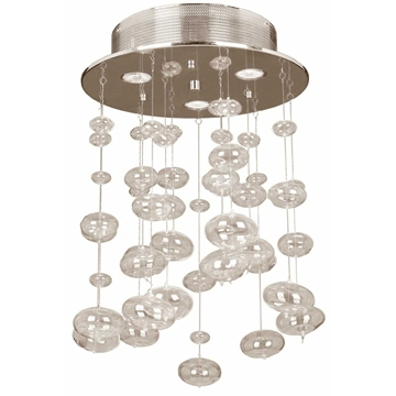 "Picture of 18"" Manhattan Modern Flush Mount Hand Blown Glass Bubbles Chandelier Chrome Finish 3 Lights"