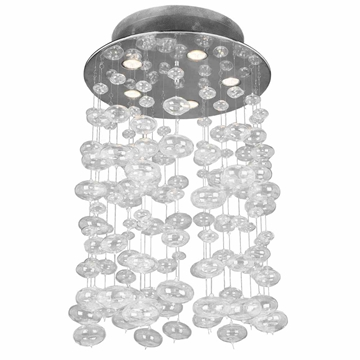 "Picture of 30"" Manhattan Modern Flush Mount Hand Blown Glass Bubbles Chandelier Chrome Finish 5 Lights"