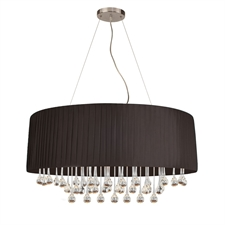 "Picture of 30"" Manhattan Modern Crystal Oval Chandelier Polished Chrome with Black / White Side Pleated Shade 4 Lights"